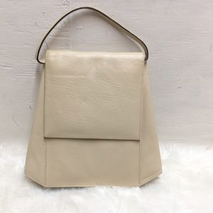 Genesis By Sabina Cream Leather Trapeze Bag